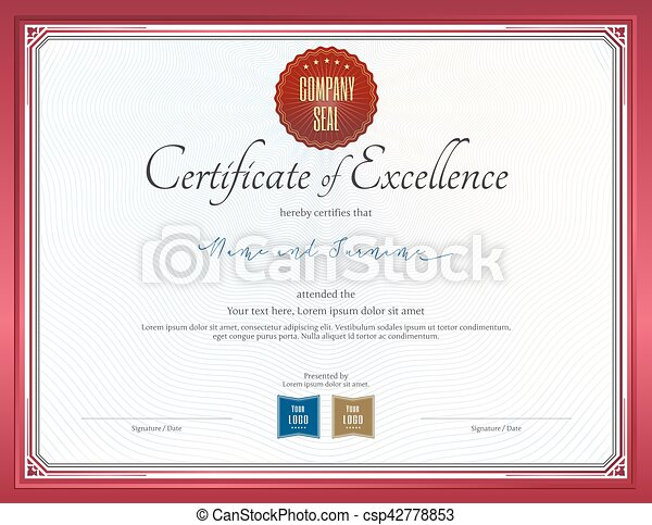 Certificate Of Excellence Template With Red Border Clipart Vector