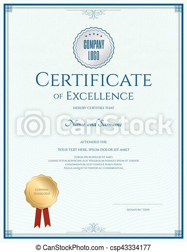 Certificate Of Excellence Template With Gold Seal And Blue