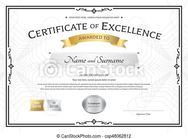 Certificate Of Excellence Template With Gold Award Ribbon On Abstract  Guilloche Background With Vector  Award Of Excellence Certificate Template
