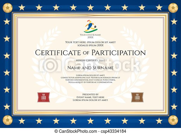 certificate of participation in sport theme for football match with