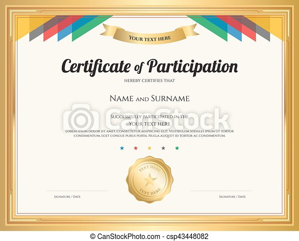 Blank certificate of participation clip art search illustration certificate of participation template with gold border and colorful stripe yadclub Gallery