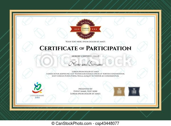 certificate of participation template in sport theme with rugby ball