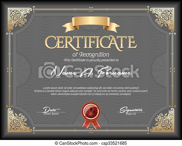 Certificate of Recognition Vintage  - csp33521685