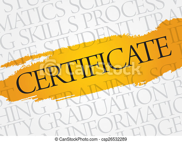 Certificate Word Cloud Education Business Concept Stock