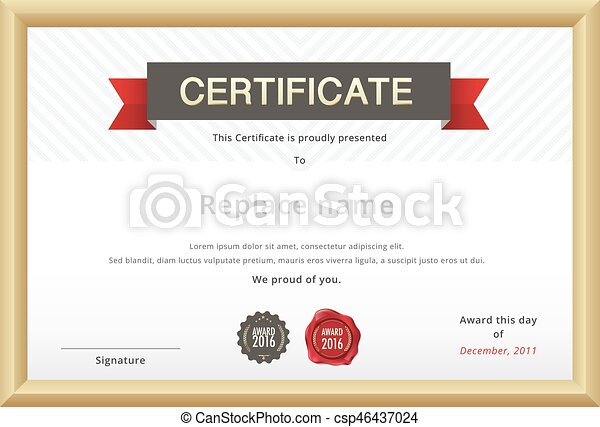 Certificate Template And Gold Border Education Certificate Template