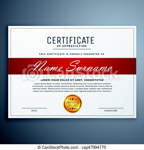 Certificate Template Design In Red And White Simple Shapes