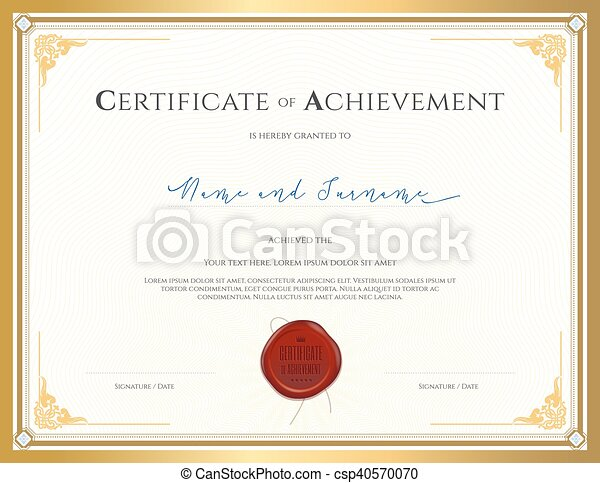 Certificate template for achievement, appreciation, completion or ...