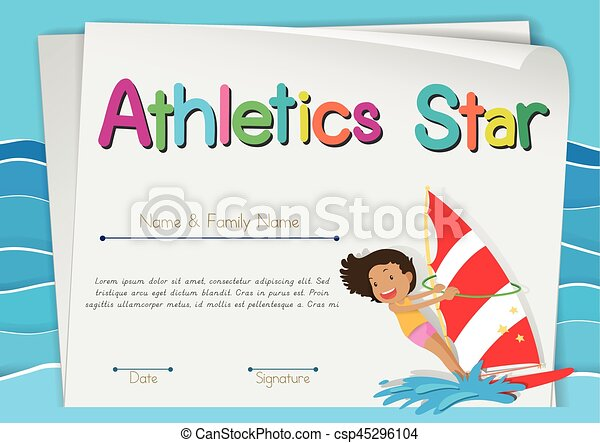 Certificate template for athletics star illustration certificate template for athletics star csp45296104 yelopaper Image collections