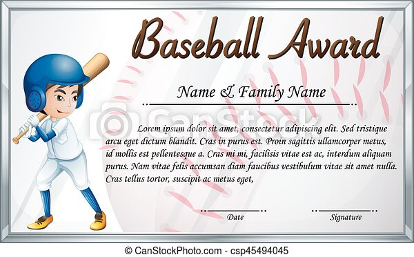 Certificate Template For Baseball Award With Baseball Player