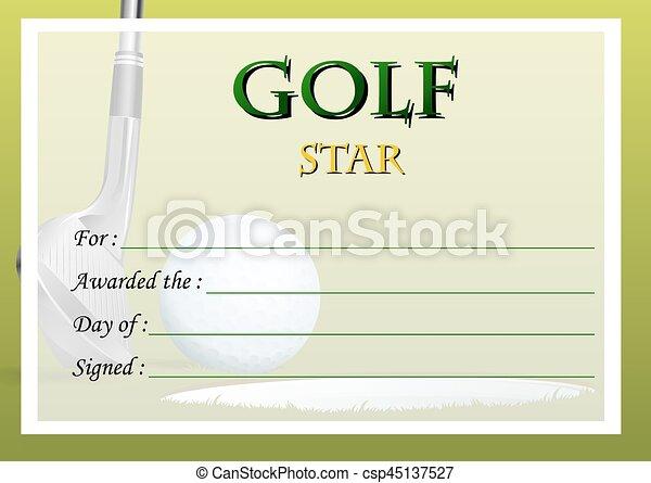 Certificate Template For Golf Star Illustration