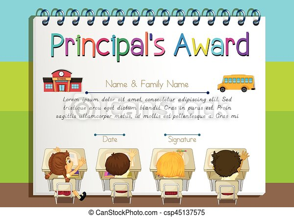Certificate template for principals award illustration vectors certificate template for principals award csp45137575 yadclub Image collections