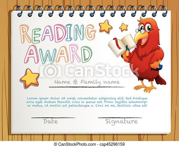 Certificate Template For Reading Award Illustration