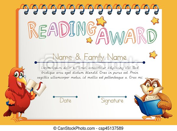 Certificate template for reading award illustration.