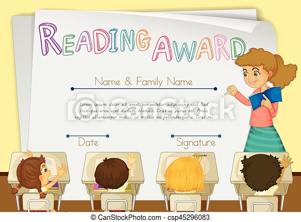 Certificate template for reading award with students in background certificate template for reading award with students in background csp45296083 yadclub Choice Image
