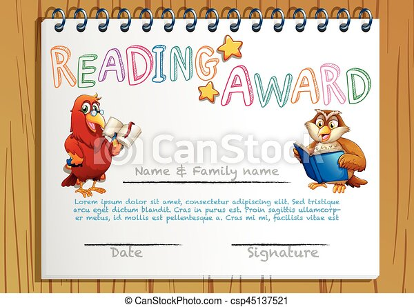 Certificate template for reading award illustration vector certificate template for reading award csp45137521 yadclub Gallery