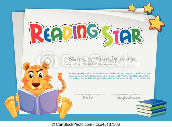 Certificate template for reading award illustration vector clipart certificate template for reading award csp45137506 yadclub Images