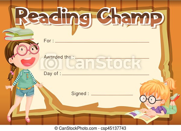 Certificate Template For Reading Champ Illustration