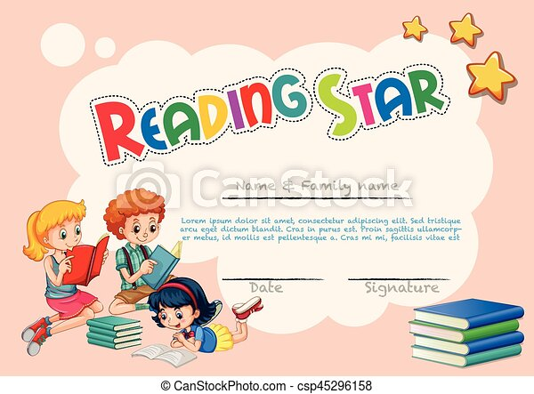 Diploma template for kids with reading glasses diploma eps certificate template for reading star with pink background yadclub Image collections