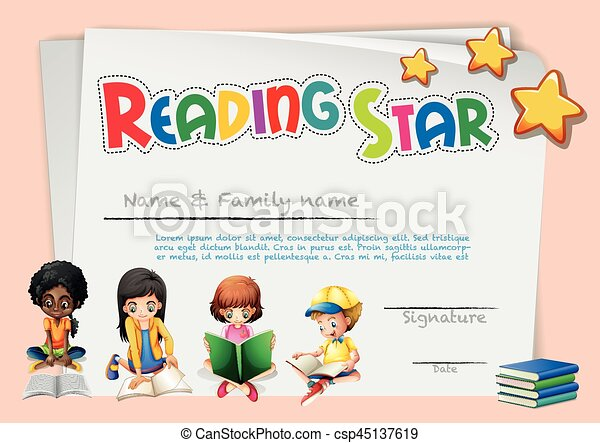 Certificate Template For Reading Star With Pink Background Illustration