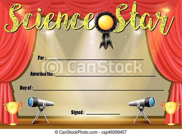 Certificate template for science star illustration clipart vector certificate template for science star csp46099457 yelopaper Images