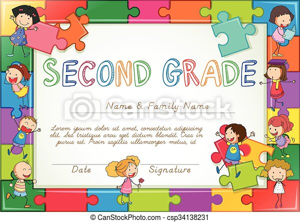Certificate template for second grade students - csp34138231