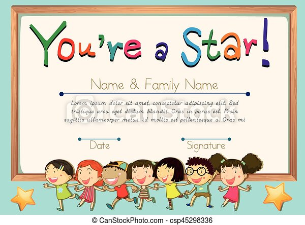 Certificate Template For Star Illustration