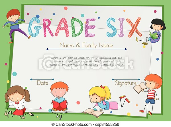 Certificate template for students grade six - csp34555258