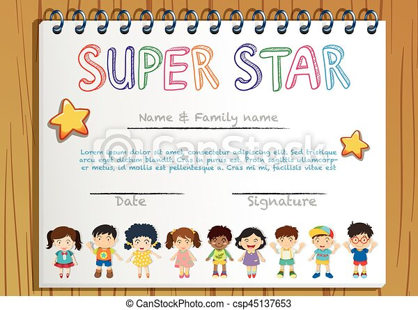 certificate template for super star illustration