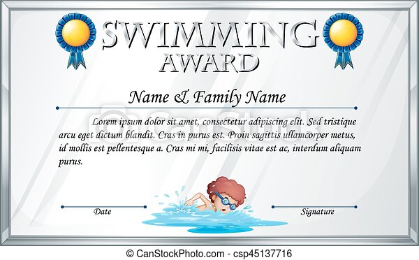 Certificate template for swimming award illustration.