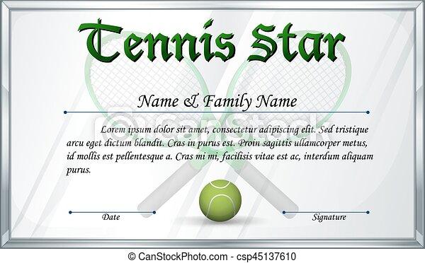 Certificate template for tennis star illustration.