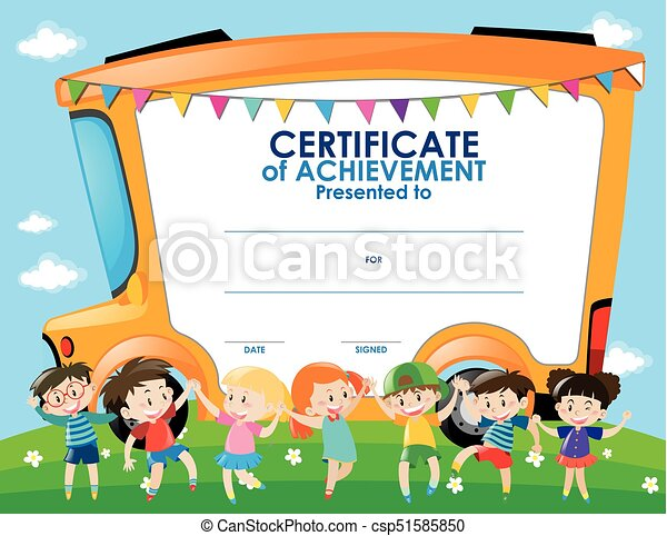 Certificate Template With Children And School Bus Illustration