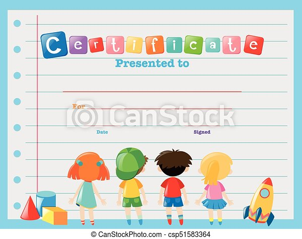 Certificate Template With Children Illustration