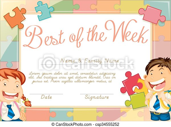 Certificate Template With Children Background Illustration