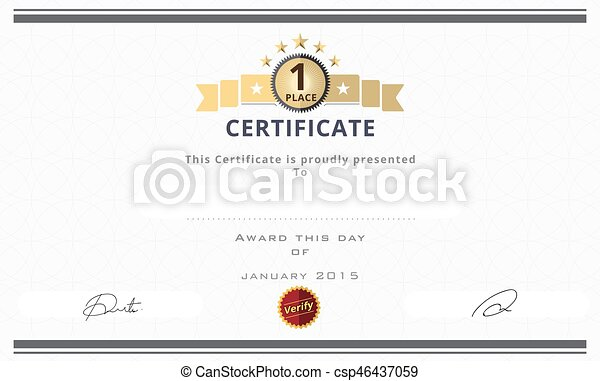 Certificate template with first place concept certificate certificate template with first place concept certificate border design vector illustration yadclub Images