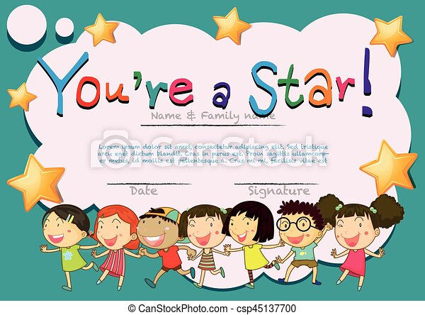 Certificate Template With Happy Kids Illustration