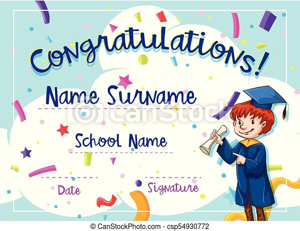 Certificate template with kid in graduation gown illustration.