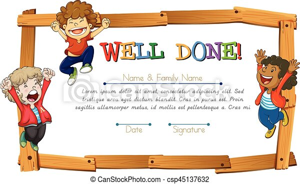 Certificate Template With Kids And Wooden Frame Illustration