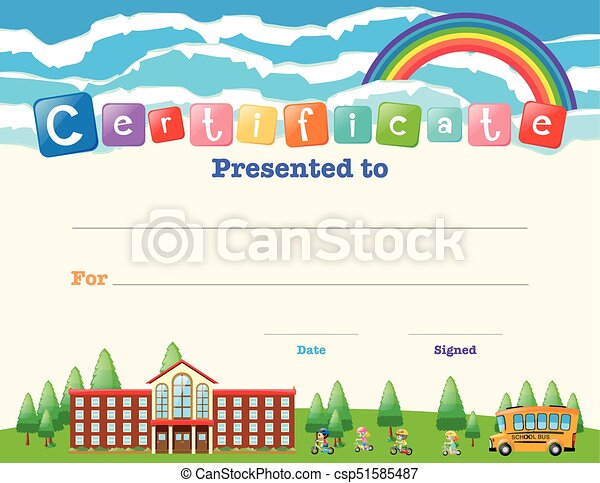 Certificate Template With Kids At School Illustration