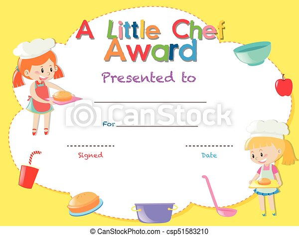 Certificate template with kids cooking illustration.