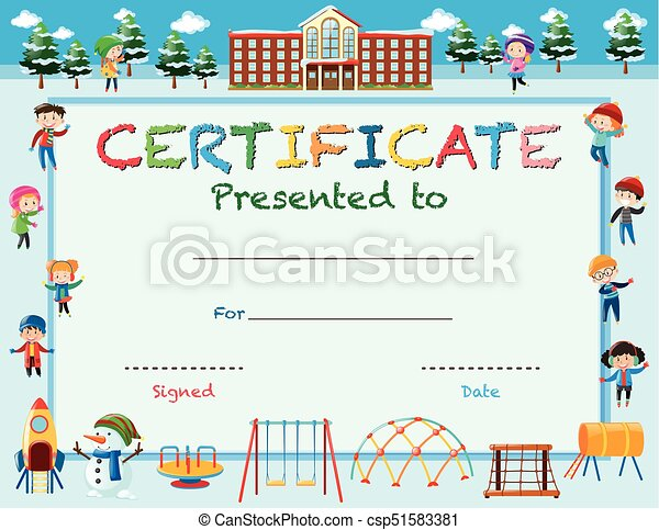 Certificate template with kids in winter at school illustration certificate template with kids in winter at school csp51583381 yelopaper Image collections