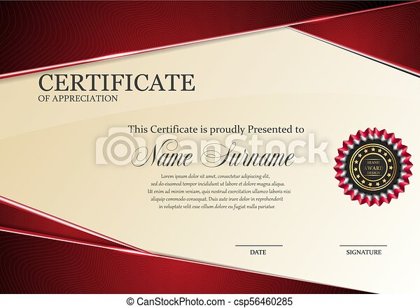 Certificate Template With Luxury Red Elegant Pattern Diploma Design