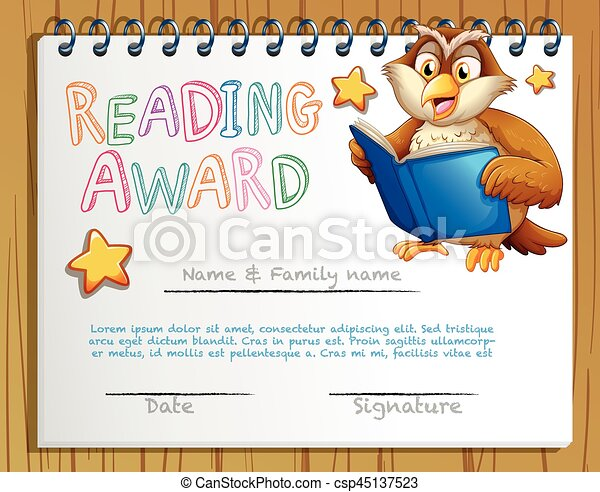 Certificate template with owl reading book illustration vector certificate template with owl reading book csp45137523 yadclub Images