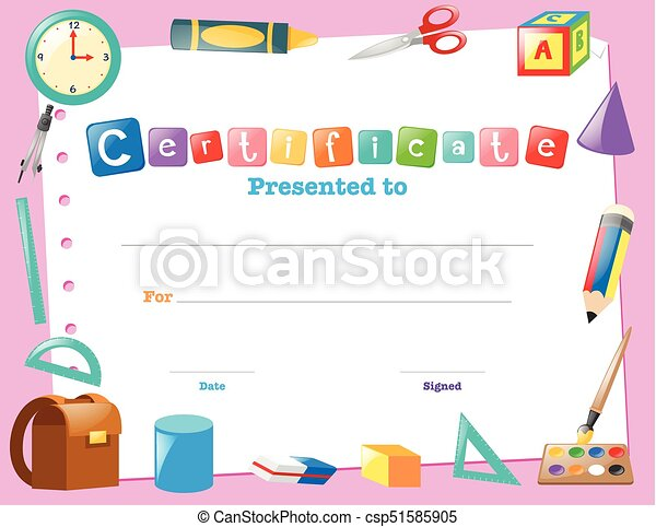 Certificate template with school items illustration vector clipart certificate template with school items csp51585905 yelopaper Image collections