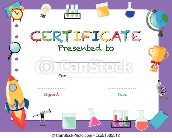 Certificate template with school objects illustration vector clip certificate template with school objects csp51585512 yelopaper Image collections