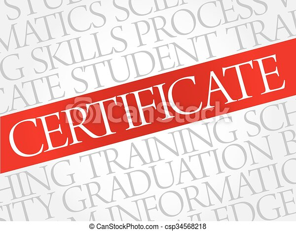 CERTIFICATE Word Cloud   Csp34568218  Certificate In Word