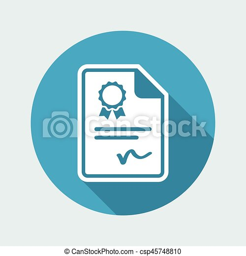 Certificated document - Vector icon - csp45748810
