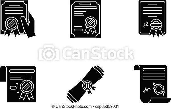 Certificates black glyph icons set on white space - csp85359031