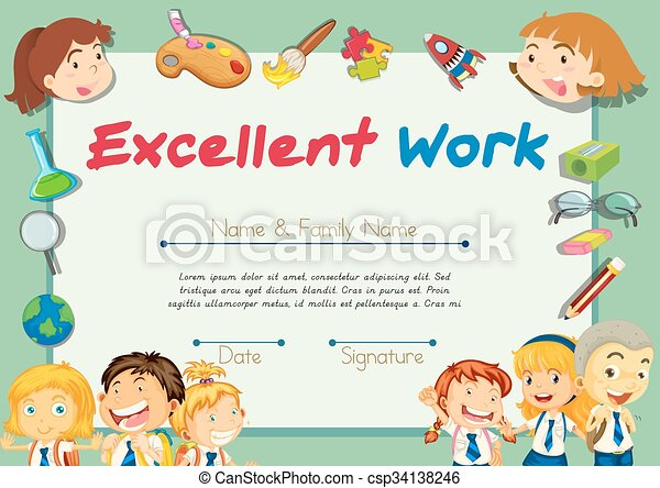 Certification template for students with excellent work illustration.