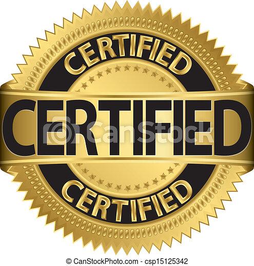 Certified golden label, vector illu - csp15125342