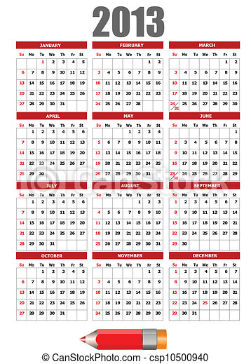 2o13 naptár Ceruza, naptár, image., 2013, v. Ceruza, image., ábra, vektor  2o13 naptár